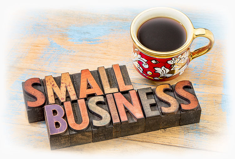 Letter press says small business with a coffee cup